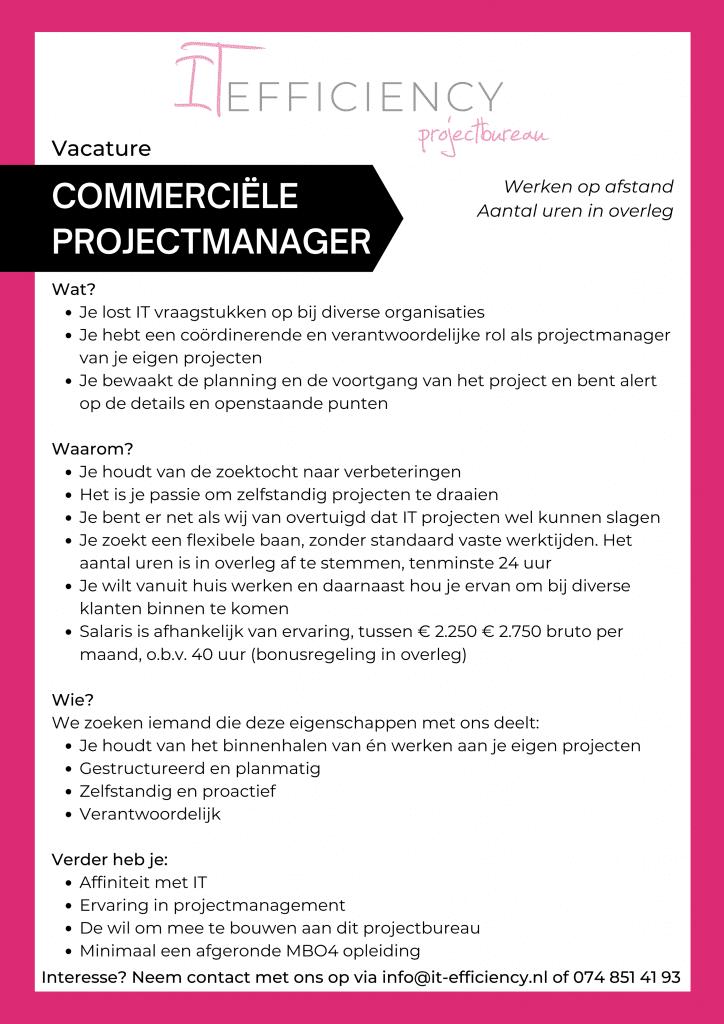 Commerciële Projectmanager vacature