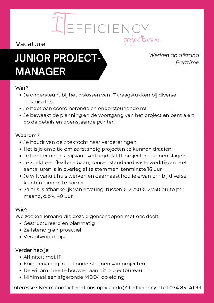 Junior Projectmanager vacature