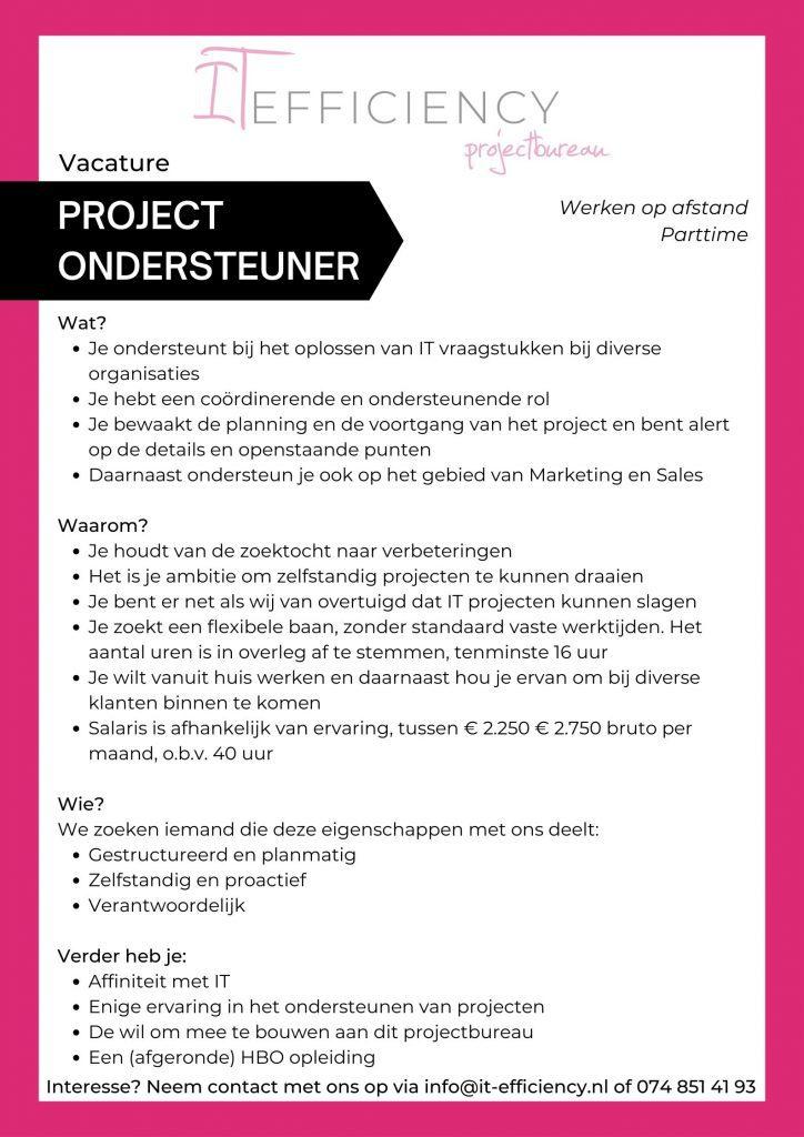 Project ondersteuner vacature
